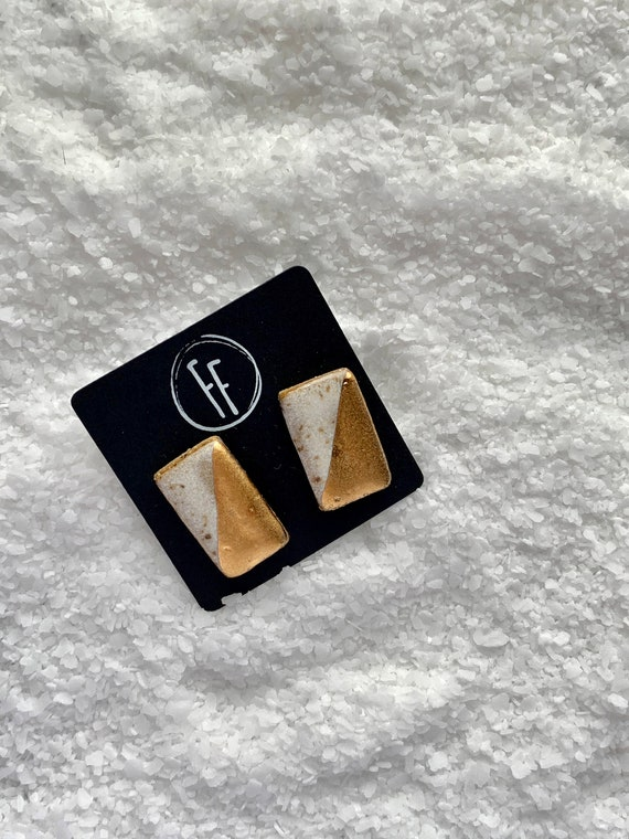 White Rectangle Gold  Studs