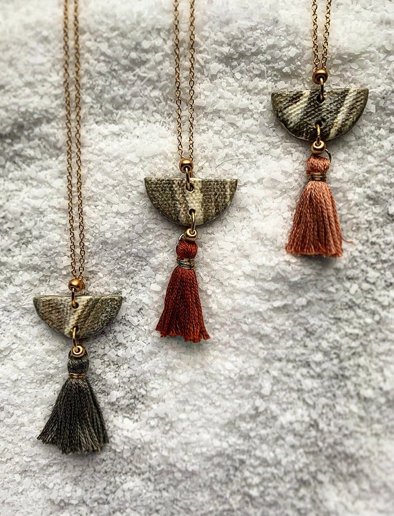 SM Marbled Tassel Necklace