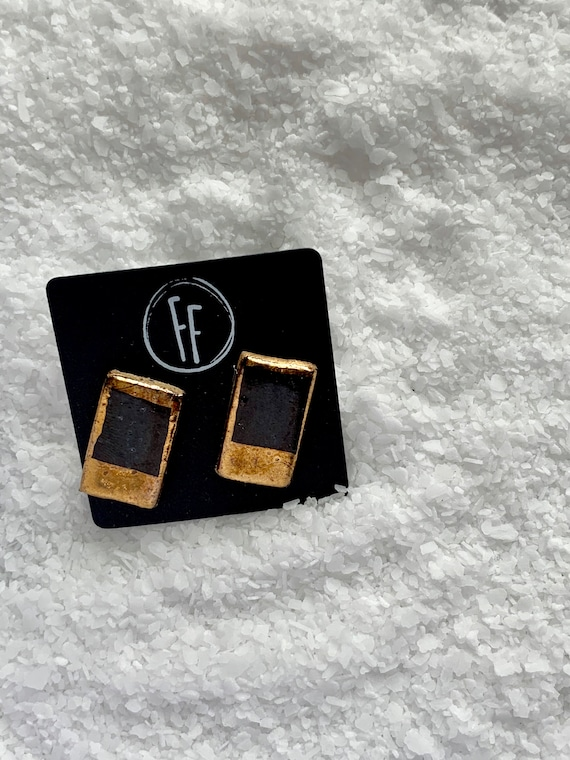 Black Rectangle Gold  Studs