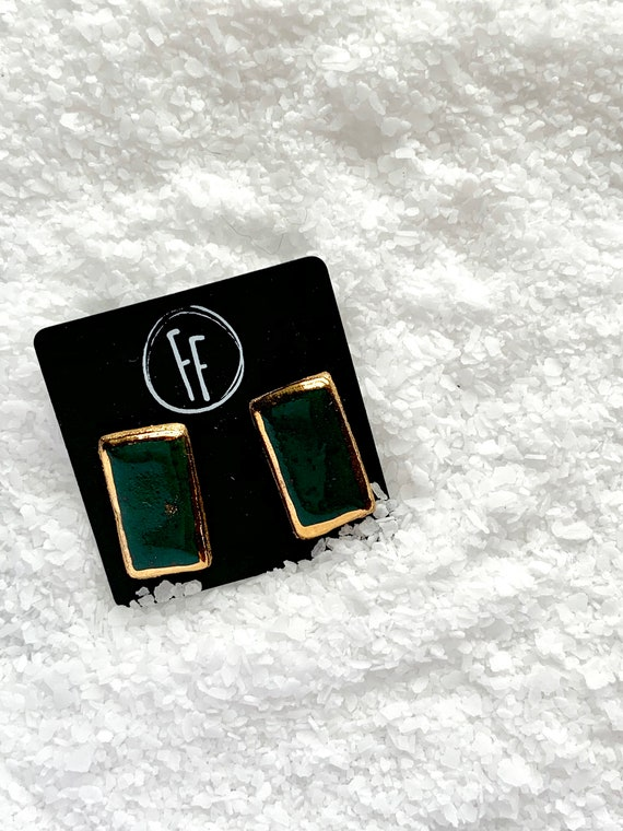 Green Rectangle Gold  Studs