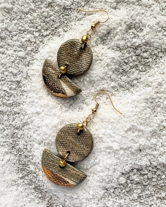 Marbled Gold Dipped Earrings