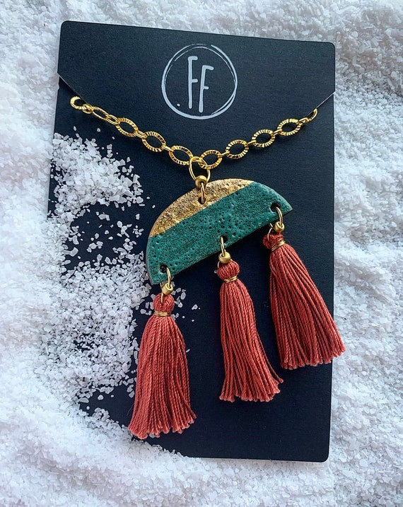 Gold Dipped Green Tassel Necklace