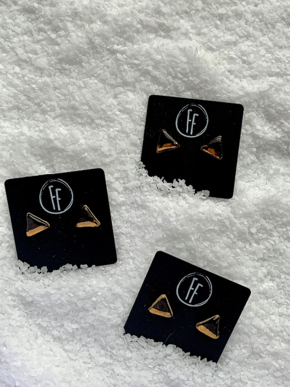 Black Triangle Gold  Studs