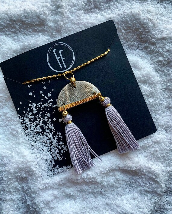 Marbled Gold Dipped Double Tassel Necklace
