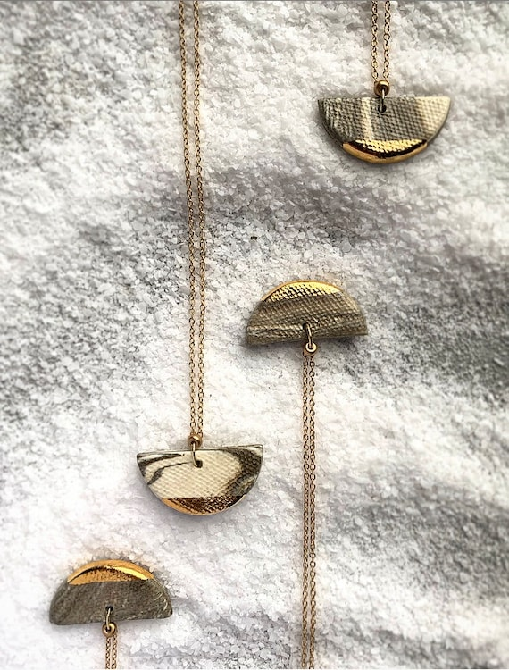 Marbled Gold Dipped Necklace