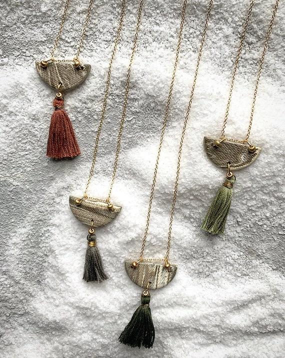 M Marbled Tassel Necklace