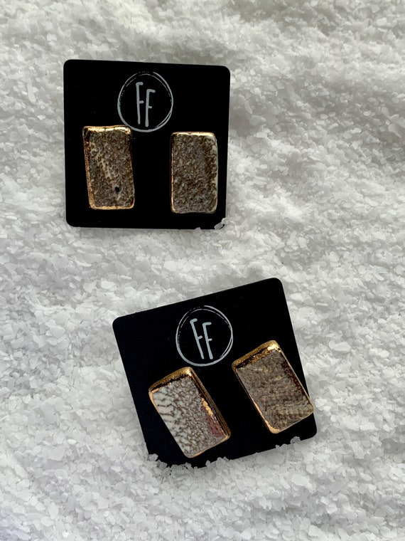 Marbled Rectangle Gold  Studs