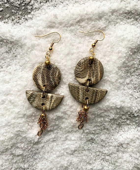 Marbled Gold Chain Tassel Earrings