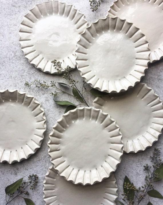 Crimped White Appetizer/ Dessert Plate