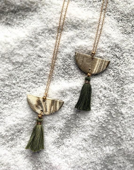 LG Marbled Tassel Necklace