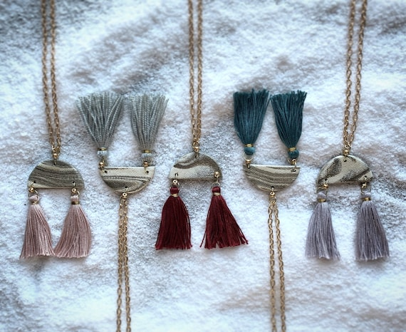 Marbled Tassel Necklace