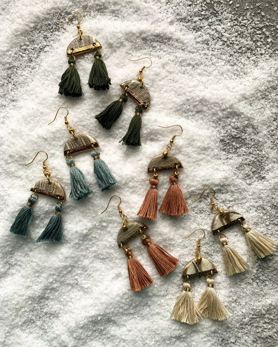 S Marbled Gold Dipped Double Tassel Earrings