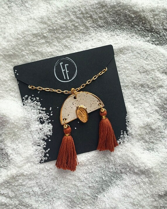 Double Tassel White Spec & Gold Necklace