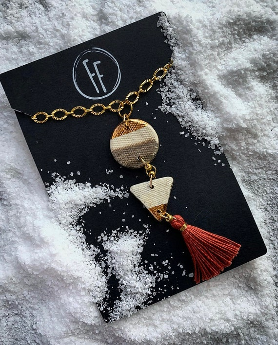 Double Shape Gold Dipped Tassel Necklace
