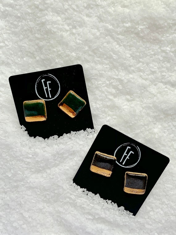 Green Square Gold  Studs