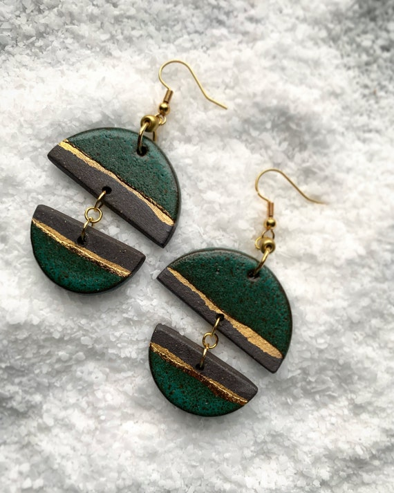 Green and Gold Line Earrings