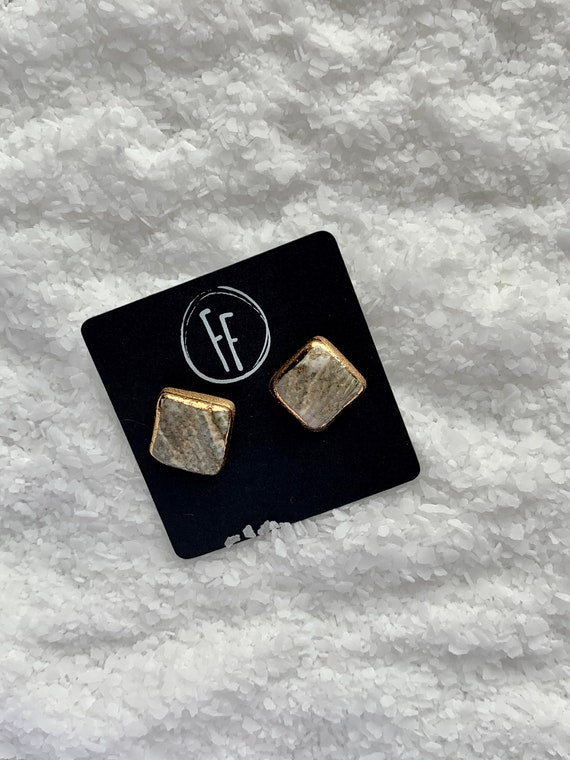 Marbled Square Gold Outlined Studs
