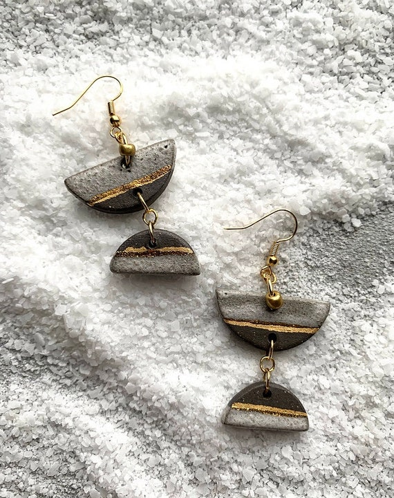 Textured White and Gold Earrings