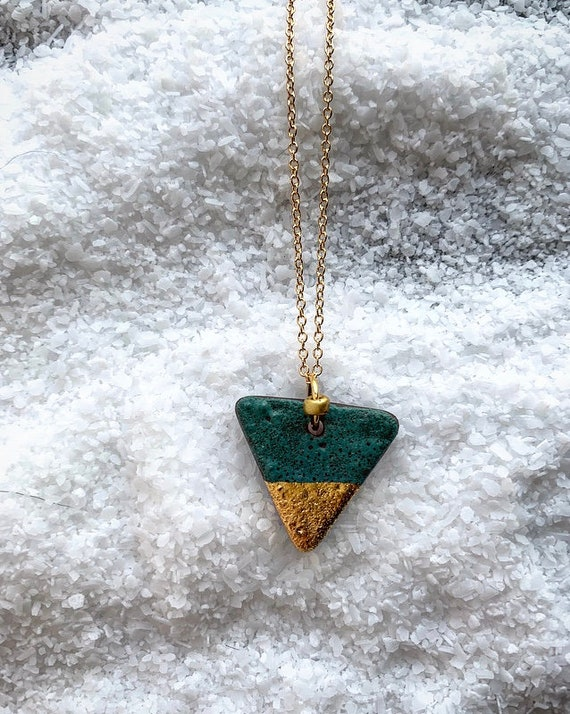 S Gold Dipped Green Necklace