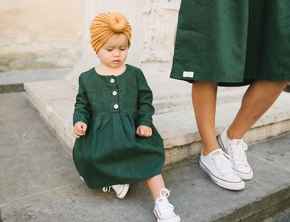 Baby Madchen Grunes Kleid Leinen Kleidung Leinen Mode Etsy