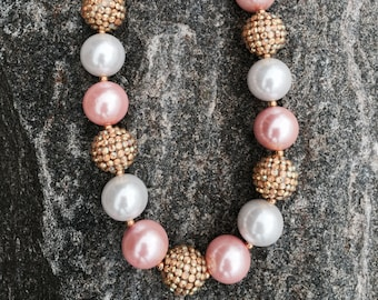 chunky necklace, bubblegum necklace, pink and gold, girls necklace, birthday necklace, princess necklace, first birthday necklace, 1st party