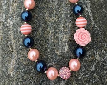 chunky necklace, bubblegum necklace, navy chunky necklace, navy and cream necklace, princess necklace, navy and pink chunky necklace