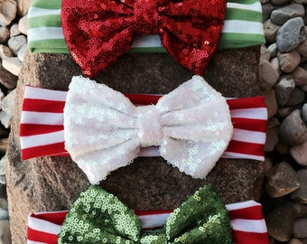 Christmas sequin bow headbands, holiday headband, Christmas sparkle headband, red and green headbands, red and green bows