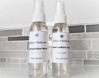 All-Natural vegan-friendly moisturizing hand sanitizer spray scented with all-natural essential oils