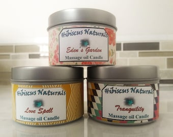 All-Natural, vegan friendly, sensual, moisturizing, aromatherapy massage oil candles that are scented with all-natural essential oils