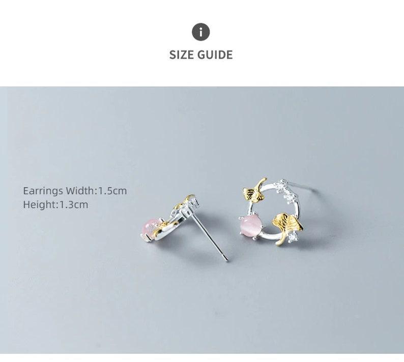 Sterling Silver Dainty Ginkgo Leaf and Opal Wreath Stud Earring