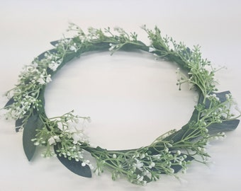 Flower Crown-Flower Girl Flower Crown-Baby's Breath and Eucalyptus Flower Crown-Bridal Flower Crown-Bridesmaid Flower Crown-Fiona Crown