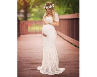 8eba5b6d8a5 Maternity Dress-White Lace Maternity Gown for Wedding-Baby Shower Maternity  Dress-Photo Shoot Maternity Gown-Long Maternity Dress-EMMA Dress