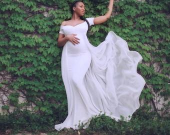 8564c83f77370 Baby Shower Dress-White Maternity Dress for Photo Shoot-Photo Shoot Maternity  Dress-Long Maternity Dress for Wedding-White Maxi Gown-GRETA