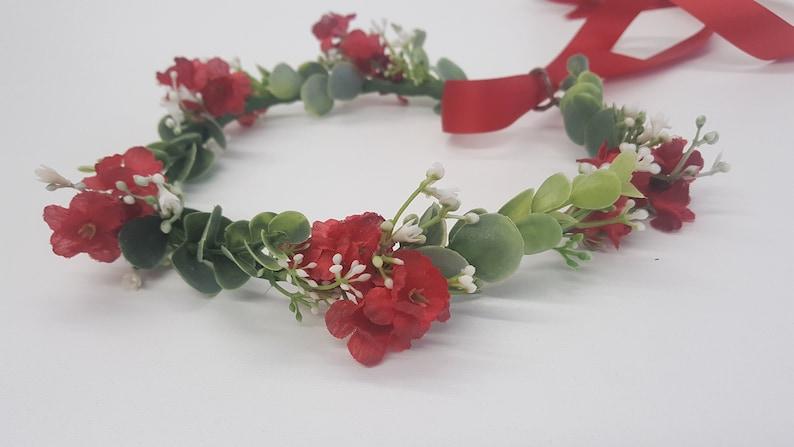 Flower Girl Crown Red-Baby/'s Breath Flower Crown-Wedding Flower Crown-Baby/'s Breath Bridesmaid Flower Crown-Eucalyptus Flower Crown Red