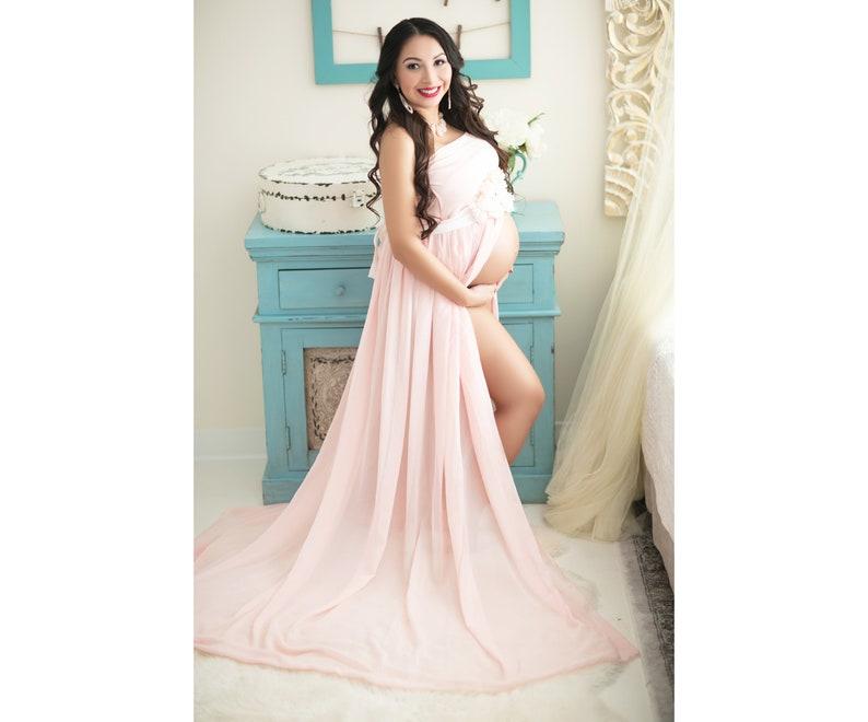 36ed6ba383a09 Maternity Dress Pink-Chiffon Maternity Gown-Long Maternity | Etsy