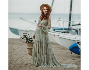 Lace Maternity Gown Bohemian Style for Baby Shower, Photo Shoot and Wedding-Boho Maternity Dress Long Sleeve-Maternity Boudoir Dress-BRIANA