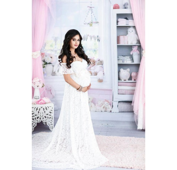 d75eea015d7e0 White Lace Maternity Gown for Wedding-Maternity Dress for | Etsy