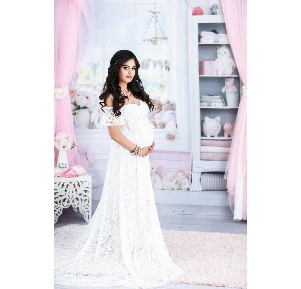 Lace Maternity Dresses For Baby Shower: White Lace Maternity Gown For Wedding-Maternity Dress For