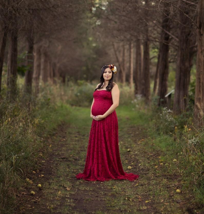 Plus Size Lace Maternity Dress for Baby Shower Photo Shoot or Wedding-Long Lace Maternity Dress-Maxi Maternity Dress-GRACE Dress