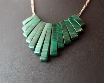 Malachite Stripe Sterling Silver Necklace