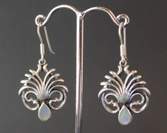 Sterling Silver and Mother of Pearl Art Nouveau Earrings