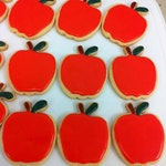 Apple Cookies, Back to School Cookies - 12 Decorated Sugar Cookie Favors