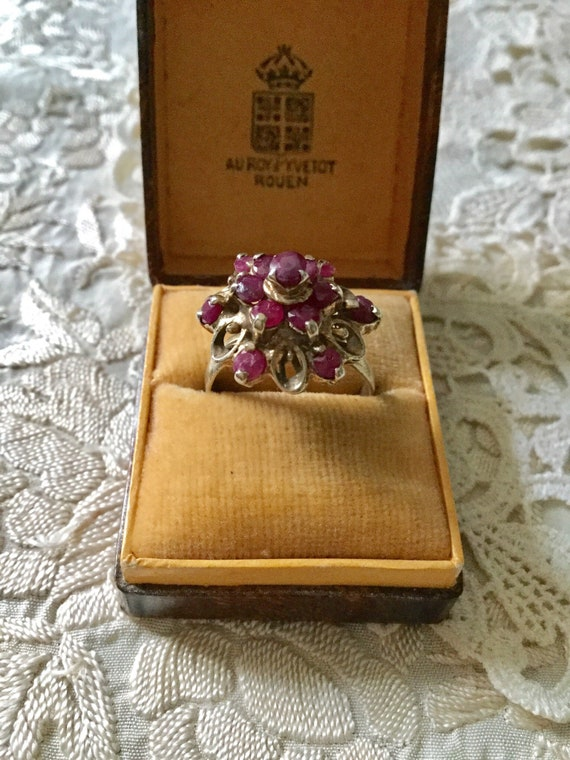 18th ANTIQUE RUBY VERmeil SILVER Exceptional Ring… - image 8
