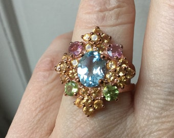 Sublime Vintage MARQUISE 14 K Rose GOLD & STERLING Ring - Genuine Blue Topaz, Amethyst, Peridot, Citrine - Great effect-From France
