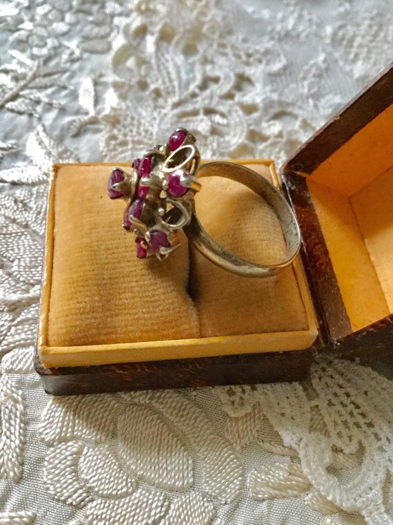 18th ANTIQUE RUBY VERmeil SILVER Exceptional Ring… - image 4