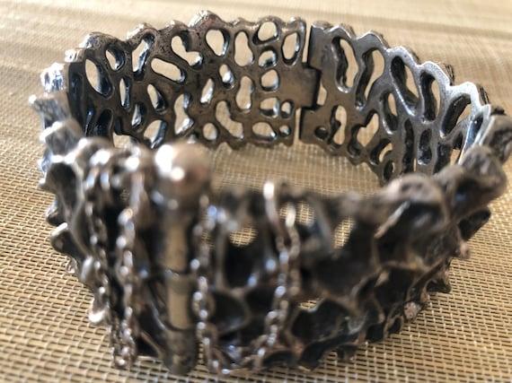 Sterling / pewter (?) brutalist handmade bracelet.