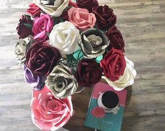 Book Paper and Color Roses Bouquet