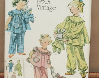 fe8c2d190b Simplicity 1264 1950s Vintage Childs Pajamas W  Bunny Sewing Pattern