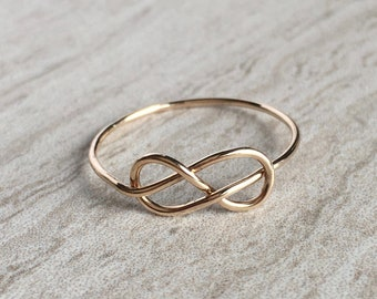 14K Gold Ultra Thin Infinity Knot Ring, Solid 14K Gold Ring, Stacking Ring, Dainty Thin Infinity Knot Ring