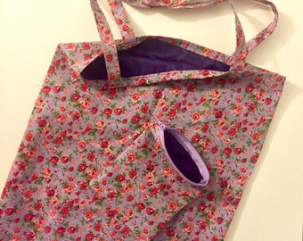 Floral Lilac Rose Fold Up Shopping Tote Bag